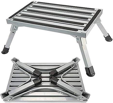 Rziioo RV Seguridad Paso Plataforma de Aluminio Plegable Taburete y la Escalera con Antideslizante pies de Goma, RV Autocaravana acoplado SUV Camper Paso Adicional: Amazon.es: Deportes y aire libre