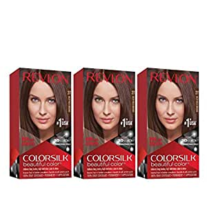 Revlon Colorsilk Beautiful Color, Permanent Hair Dye with Keratin, 100% Gray Coverage, Ammonia Free, 27 Deep Rich Brown (Pack of 3)