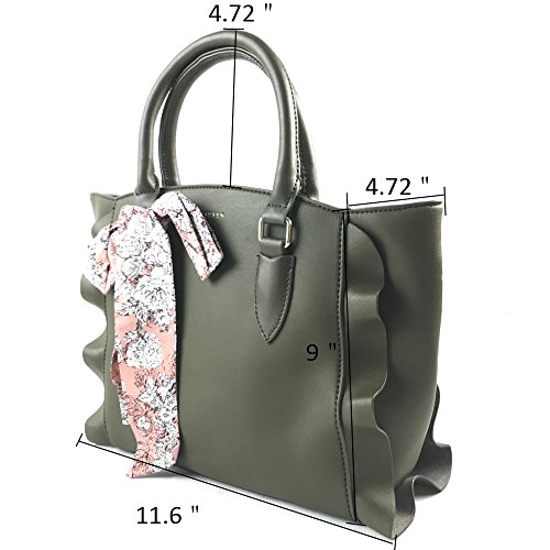 Purse Handle Green Bag Leather Fochier Tote Fashionable Large Army Pu Women Handbag tP4q8x