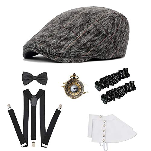 ICEVOG Mens 1920s Accessories Set Gatsby Gangster Costume Panama Manhattan Fedora Newsboy Cap Hat Suspenders Garters Spats]()