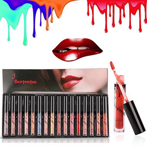 Beayonyua Lipstick Set 16 Pcs Matte and Metallic Liquid Lip Gloss Waterproof Long Lasting, Not Afraid of Kissing, Drinking, Swimming (16 PCS)