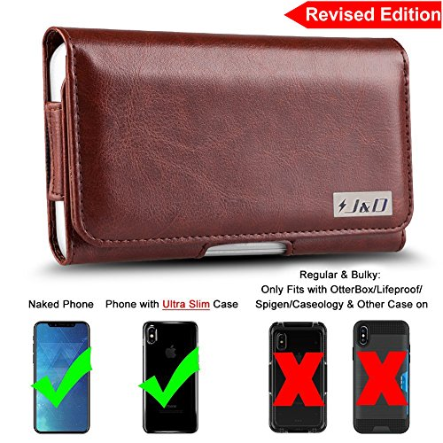 [Revised Edition] iPhone X Holster, J&D PU Leather Holster Pouch Case with Belt Clip, Leather ID Wallet Case for Apple iPhone X (Only Fit with Naked Phone/J&D Slim Case or other Ultra-Slim Case On)