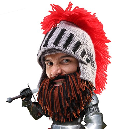 Beard Head Knight Beard Beanie - Funny Knitted Helmet and Fake Beard and Visor