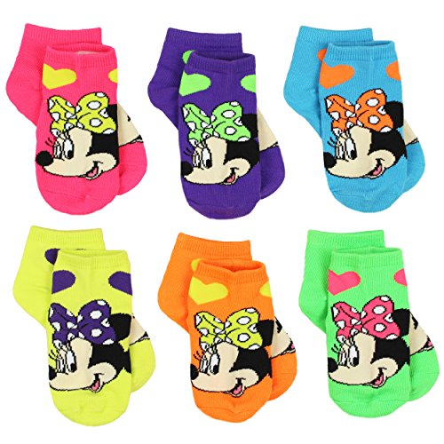 [Minnie Mouse Toddler Girls 6 pack Socks (4-6 (Shoe: 7-10), Neon Hearts Quarter)] (Mickey Dress)