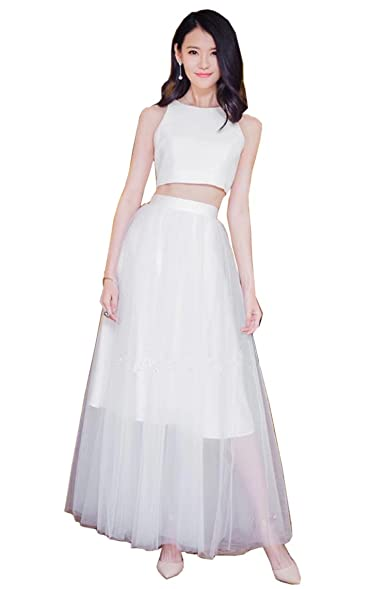 BoHoSpecial 2 Piece Evening Dresses Long Satin Tulle Prom Dress Evening Gowns Wedding Party Dress