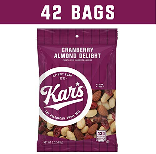 (Kar's Nuts Cranberry Almond Delight Trail Mix Snacks - Lightly Salted Blend of Peanuts, Almonds & Sweet-Tart Cranberries - Bulk Pack of 3 oz Individual Single Serve Bags (Pack of 42))