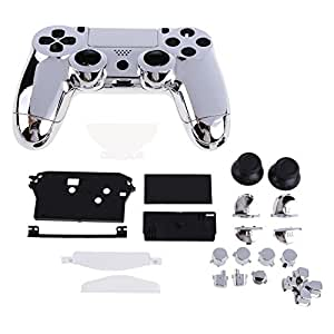 Vktech New Front Back Housing Controller Game Shell Glossy Case for Sony PS4 Silver