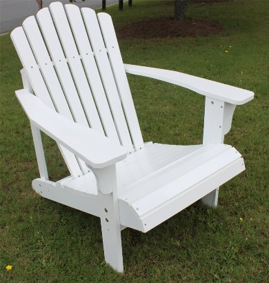 White Painted Chestnut Oak Outdoor Patio Backyard Adirondack Chair Lounger by Shine