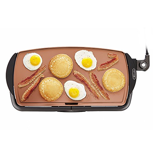 BELLA 14606 Copper Titanium Coated Non-Stick electric-griddles, 10.5 x 20 - Flat Griddle