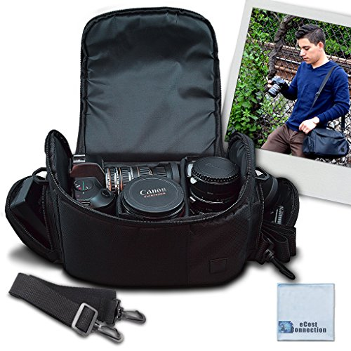 Large Digital Camcorder / Video Padded Carrying Bag / Case For Sony FDR-AX33, FDR-AX100, HDR-PJ790, HDR-PJ540, HDR-CX405, HDR-CX240, HDR-PJ275, CX440, 2GB HDR-PJ650, HDR-PJ670, HDR-PJ340, PJ810, PJ430V, HDR-PJ440, HDR-PJ430V, HDR- PJ650, HDR-PJ790V, HRD-PJ790 & More… + Microfiber Cloth