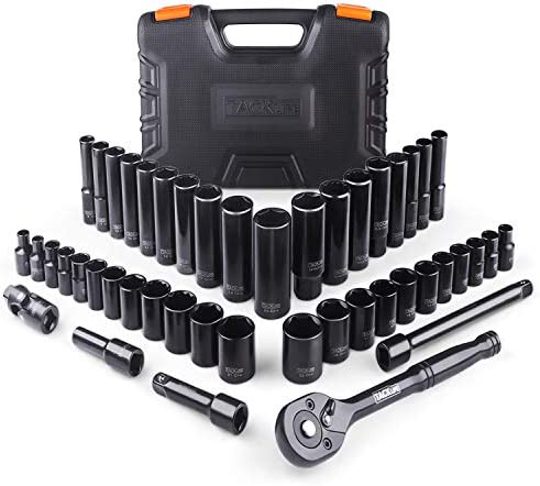 TACKLIFE 3/8'' Drive Socket Set, Upgrade 47 Pieces Socket Set with 72 Teeth Reversible Ratchet, Metric and SAE - SWS2A