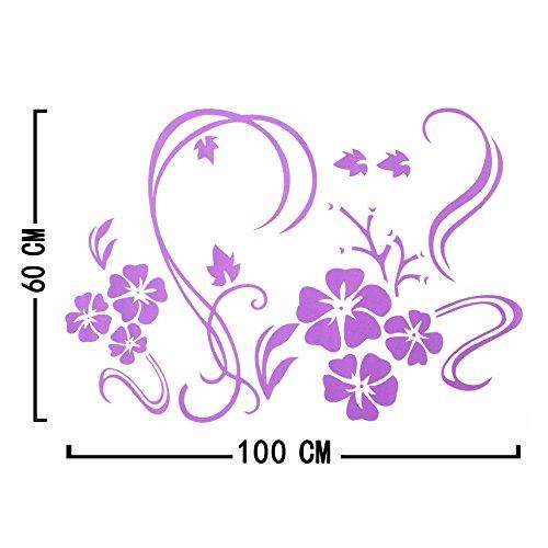Stylish Modern Flower Wall Stickers Vinyl Art Decals - Purple - Stylish Accent
