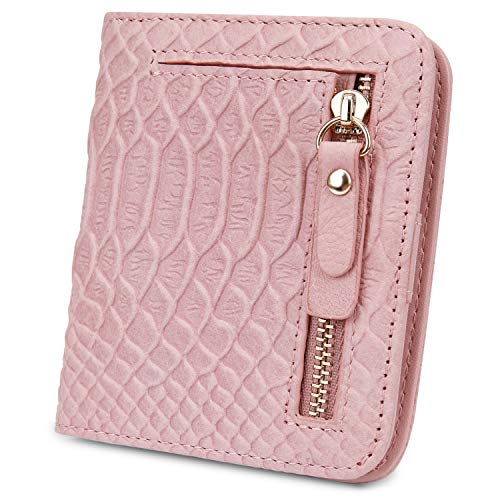 Blocking Small Compact Snakeskin Style Leather Wallet Ladies Mini Purse with ID Window ()