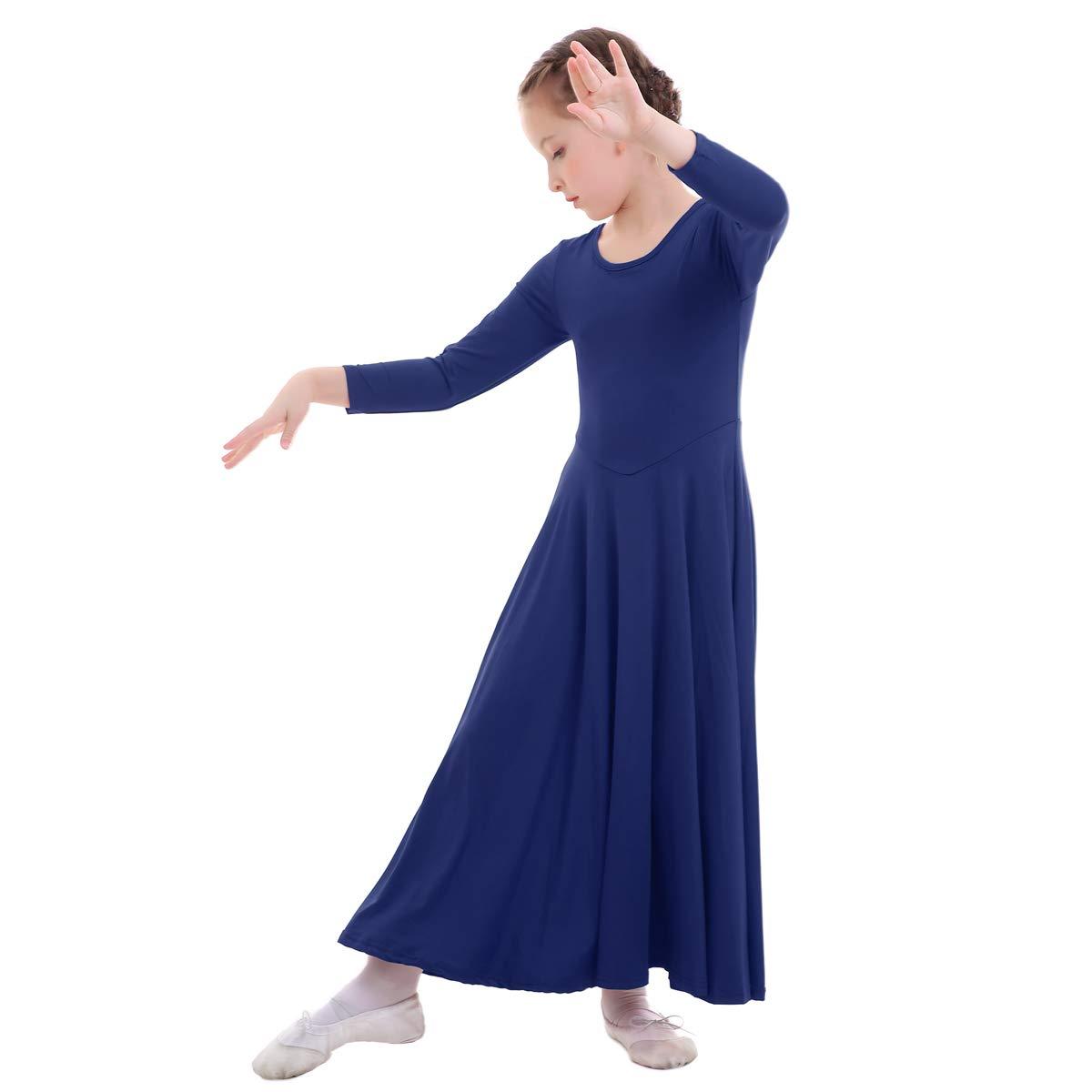 IMEKIS Girls Liturgical Praise Dance Dress Loose Fit Full Length Swing Tunic Skirt Kids Long Sleeve Ballet Worship Costume