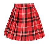 Beautifulfashionlife Japan Sexy anime short Pleated party Cos Skirts(XL , Red black white )