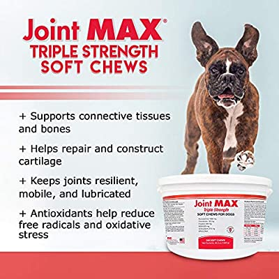 Joint MAX Triple Strength Soft Chews Glucosamine Chondroitin with MSM for Dogs Hip & Joint, Made in USA