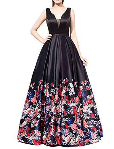 Kiss Rain Women's Floral Print Evening Prom Dresses Ball Gown with Sleeves by Kiss Rain