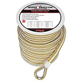 Extreme Max 1/2' x 150' 3006.2258 BoatTector Double Braid Nylon Anchor Line with Thimble-1/2, White & Gold