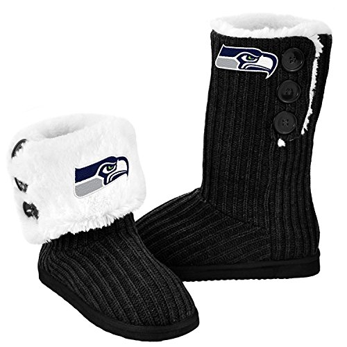 NFL Football Ladies Knit High End Button Boot Slippers - Black (Seattle Seahawks, Large) Hawk Slippers