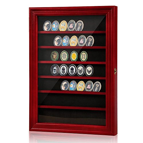 Competition Shadow (Topeakmart Military Challenge Coin Display Case,Sport Competition Coin,Wall Mounted Cabinet,with Lock and Door)