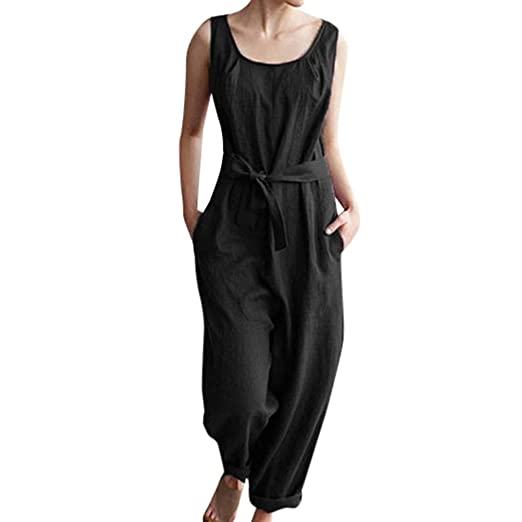 a97bfe73ac77 Cardigo Women Belt Solid Linen Sleeveless Casual Cute Pockets Jumpsuits  Playsuits Black
