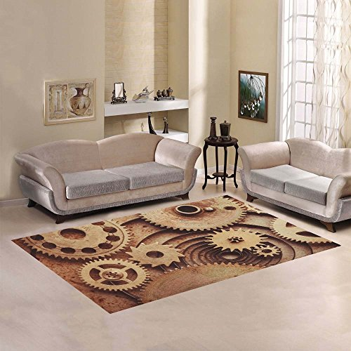Steampunk Area Rug 7' x 5' Feet, Clockwork