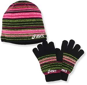 Asics Women's Abby Beanie/Glove Set, Black/Flare, All