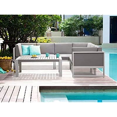 Beliani Modern Outdoor Metal Cushioned Lounge Set