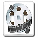 3dRose lsp_159179_2 a Silver and Black Movie Reel Light Switch Cover