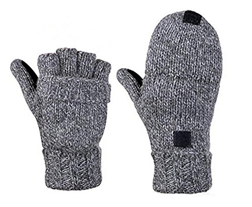 Tipless Gloves (Sudawave Men's Knitted Wool Gloves with Leather Patch on Palm Micro Fleece Lined Warm Winter Gloves (Grey))