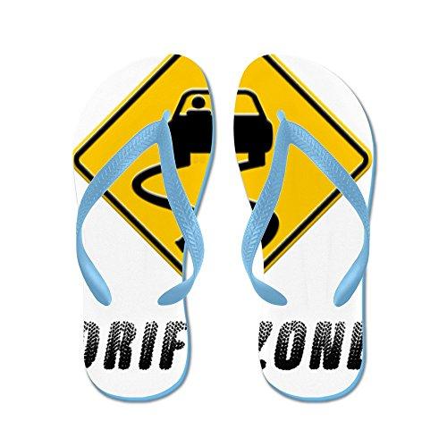 Cafepress Drift Zone Verkeersbord - Flip Flops, Grappige Thong Sandalen, Strand Sandalen Caribbean Blue