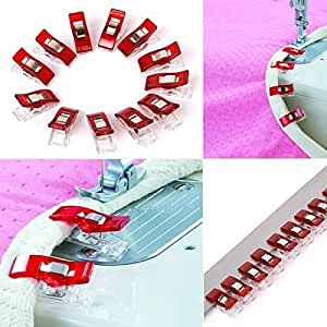 Tinksky 12pcs métier de plástico costura edredón asociación bornes clip () rojo