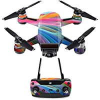 Skin for DJI Spark Mini Drone Combo - Rainbow Waves| MightySkins Protective, Durable, and Unique Vinyl Decal wrap cover | Easy To Apply, Remove, and Change Styles | Made in the USA
