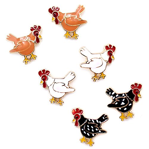 Silver and Enamel Chicken Stud Earrings from WYO-HORSE JEWELRY - Rhode Island Red, Cornish, and Plymouth Hens (Black)