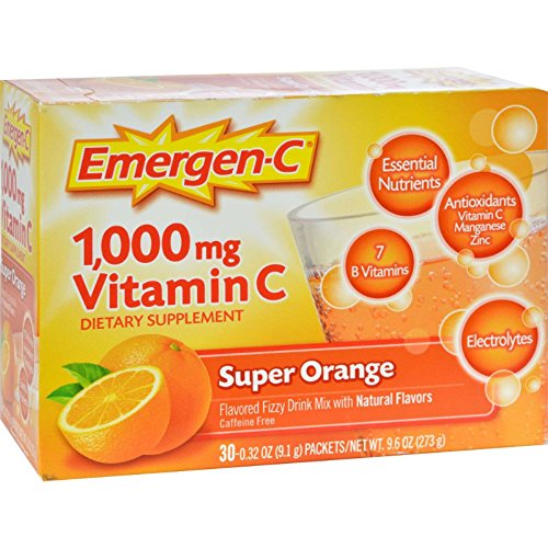 076314306466 - Emergen-C Dietary Supplement Drink Mix with 1000 mg Vitamin C, 0.32 Ounce Packets, Caffeine Free (Super Orange Flavor, 30 Count) carousel main 0