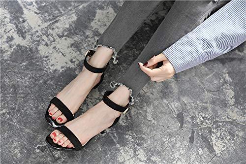 Noir Ruiren Talons Pour Ouvert Talon Sandales Dames Chaussures Cheville Femmes Chaton Hauts fPXqFPr