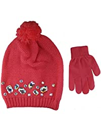 Girls Knit Beanie with Gems and Magic Hat and Glove Set - Size 4-