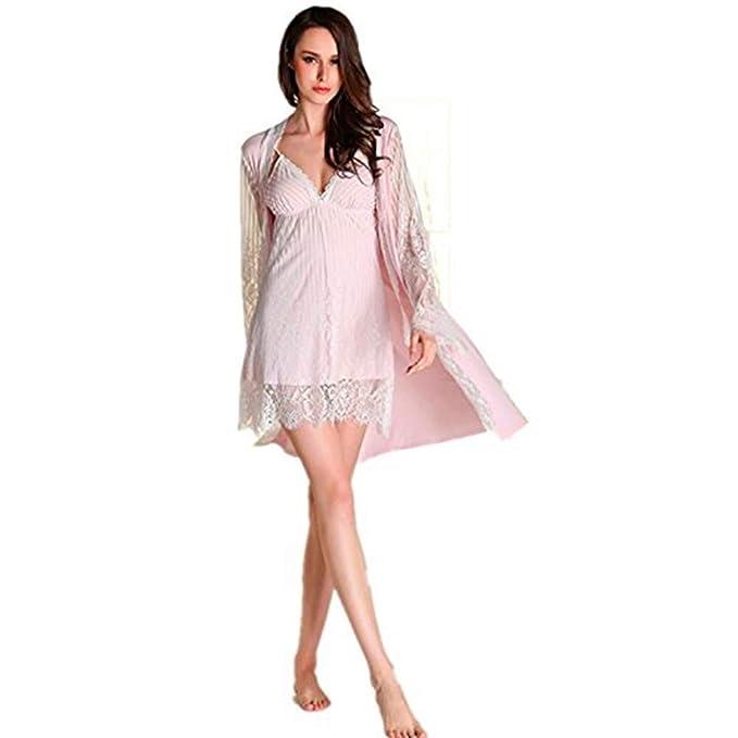 Missley Mujer Ultra - Fibra fina Sling Nightwear Cómoda Lace Pijamas Falda Nocturna Respirante Dos Piezas