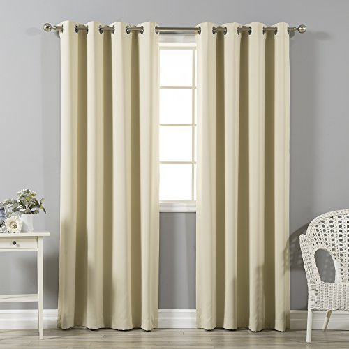 """Best Home Fashion Thermal Insulated Blackout Curtains - Stainless Steel Nickel Grommet Top - Beige - 52""""W x 72""""L - (Set of 2 Panels)"""