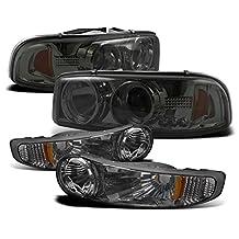 2002-2006 GMC Sierra Denali / 2001-2006 Yukon Denali Halo LED Projector Headlights with Bumper Lights - Smoke