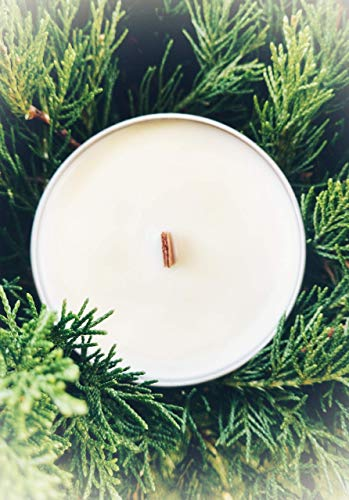 Christmas Tree Hand Poured Soy Wax Candle 8 Oz Tin with Crackling Wood Wick Vegan Friendly All Natural
