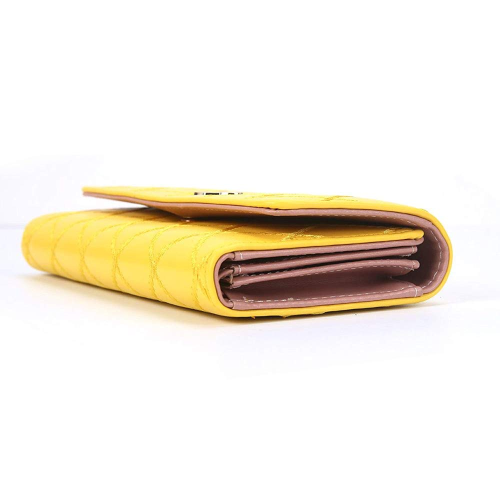 Xeminor Wallet Womens 3 Fold Wallet Ladies Long Wallet Ladies Gift Large Capacity Ladies Wallet Multi-function PU Leather Wallet Yellow