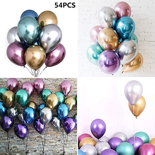 Multicolor Balloons Home Decor, Elevin(TM) 54 Pcs 12inch Chrome Shiny Metallic Latex Balloons for Birthday Wedding Grad Party