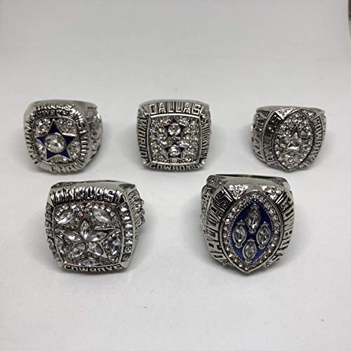 Set of 5 Dallas Cowboys Super Bowl VI, XII, XXVII, XXVIII, XXX Replica Ring-Various Sizes Silver Color Collectible 1971 1977 1992 1993 1995 Aikman, Staubach, Irvin USA SHIPPER