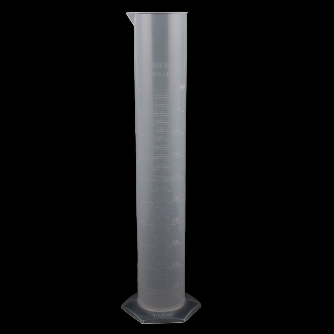 uxcell 1000mL Clear White Plastic Hex Base Graduated Cylinder a16032400ux0020