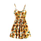 Women Girls Fashion Tops GoodLock Lady Female Sleeveless Floral Print Everything Party Mini Dress (Yellow, Size:XL)