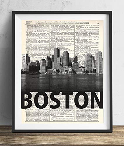 (Boston Skyline With Bold Name Dictionary Art Print 8x10)