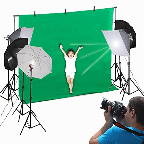 BestMassage Photo Studio Video Photography Lighting Kit Portrait Day 45W Light Bulb Umbrella Backdrop Stand Set