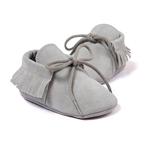Lite Walker Shoe - Royal Victory R&V Unisex Infant Baby Boys' Girls' Moccasins Soft Sole Tassels Prewalker Anti-Slip Toddler Shoes (M:6~12 Months, Bandage Light Grey)