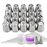Russian Tips Set 44pcs Cake Frosting Icing Decorating Tip Kit with Storage Box by YIHONG,20 Russian Piping Tips + 2 Leaf Tip + 20 Disposable Icing Bags + 2 Couplers (Tri-Color and Single-Color)